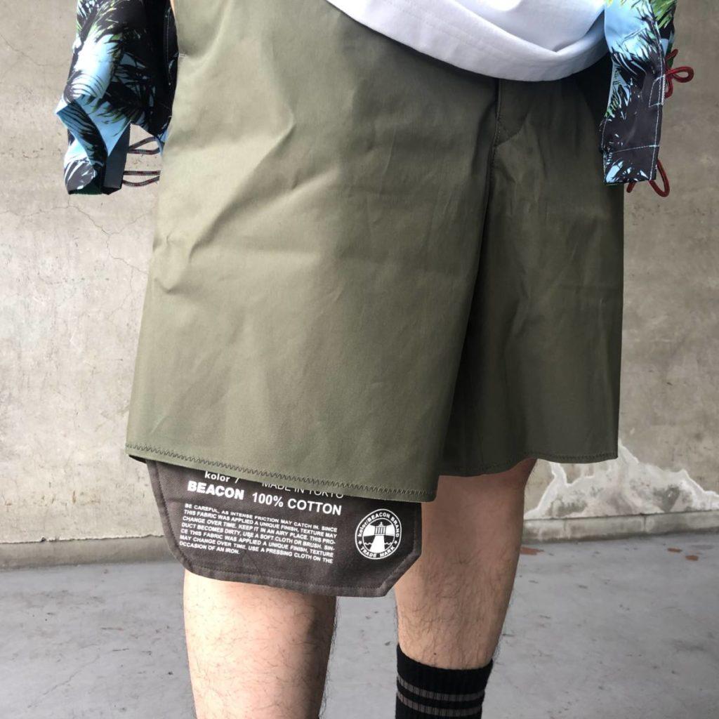 kolor BEACON(カラー ビーコン)の一癖あるオススメショーツを使ったスタイリングをご紹介。