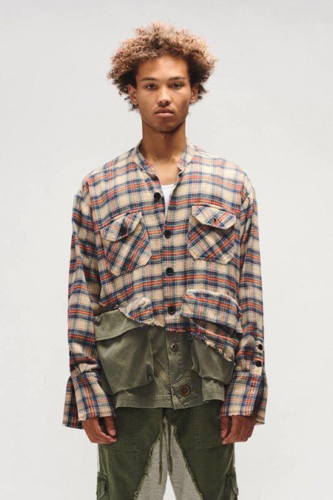 GREG LAURENの魅力的なシャツとカーゴパンツ